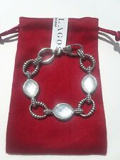GORGEOUS LAGOS CAVIAR VENUS WHITE MOTHER OF PEARL DOUBLET STERLING BRACELET NWT