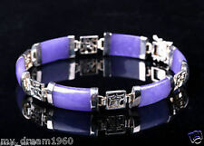 Natural Purple Jade Gems Silver Plated Fortune Lucky Link Clasp Bracelet Bangle