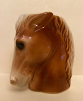 "VINTAGE ROYAL COPLEY HORSE HEAD PLANTER/ VASE WHITE/BROWN MANE 6.25""H x 5""L"