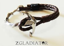 Men Women Genuine Leather Handmade Anchor 316L Stainless Steel Fashion Bracelet