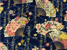 FANS: Navy Blue/Gold Metallic Asian Japanese Quilt Fabric - By The 1/2 Yd.