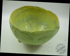 Artist Yellow Green Footed Fruit Basket Pottery Bowl Arts + Crafts Signed ooak