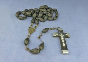 Vintage Rosary with Black Wooden Beads and Wooden & Metal Crucifix