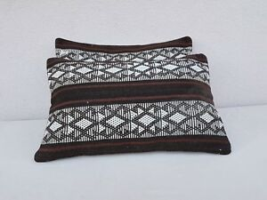 Set of 2 Pillow Covers African Mudcloth Kilim Cushion Covers  Sofa bed 16''x24''