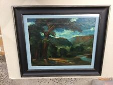 Probably German Mid 19 Century A Distant Village Oil Painting