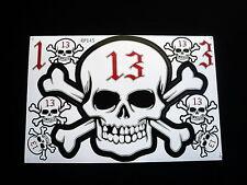 13,FORTUNATO NUMERO,teschio adesivo, Set, 9 pcs.decals, AUTO, bici, SNOWBOARD