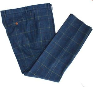 Gents Premium Wool Blend Tweed Trousers Check Plaid Casual Suit Pant