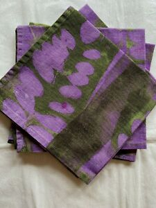 """Vietri set of 4 large cotton napkins purple green 18"""" sq. unused Made in Italy"""