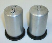 Vintage 1950s Brushed Aluminum & Black Plastic Bullet Salt and Pepper Shakers