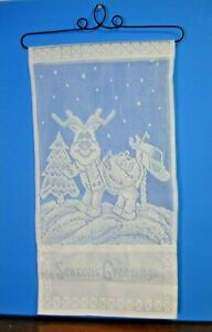 Victorian crochet Lace reindeer Wall Hanging wrought iron Christmas Card Holder