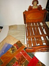 Vintage Wooden Doll Bed Victorian w/ antique quilt ticking pillow slats springs