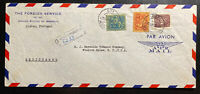 1953 Lisbon Portugal US Foreign Service Diplomatic Cover to Winston Salem NC USA