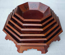 SET OF 6 SIX CHINESE OCTAGONAL STACKED WOOD BOWLS FLORAL DESIGN