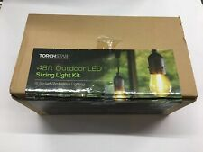 TORCHSTAR 48FT Outdoor Weatherproof String Lights 15 Bulbs Patio Party Lights