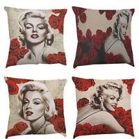 Retro Marilyn Monroe Printed Cotton Linen Throw Pillow Case Waist Cushion Cover