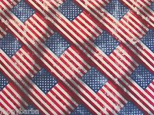 FLAGS AMERICA OLD GLORY WEATHERED** Made In USA COTTON FABRIC Price By The Yard