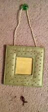 Pier 1 Green Fabric And Beaded 4 X4 Hanging Picture Frame