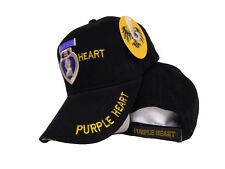 Embroidered Purple Heart Combat Wounded Military Style Premium Cap Hat (RUF)