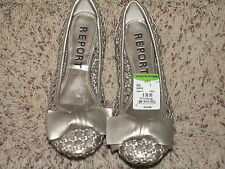 REPORT CATALINA PEWTER SILVER BOW SLIP ON FLATS WOMENS SHOES SIZE 7 NEW NWOB