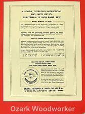 "CRAFTSMAN 12"" Band Saw 113.24261 Operator & Parts Manual 0182"
