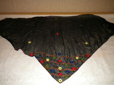 URVASHI 100% PURE SILK SCARF/MADE IN INDIA-BLACK W/MIRROR CIRCLE EMBELLISHMENTS