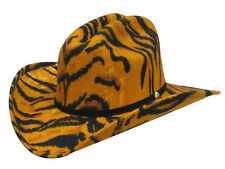 Tiger Print Felt COWBOY Cattleman HAT - Leather Band - Adult S - 6 3/4 to 6 7/8