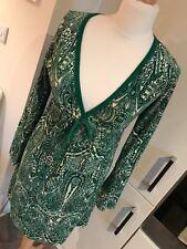 Juicy Couture Green Velour Print Short V-Neck Long Sleeve Dress - Medium