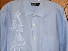 Nat Nast Light Blue 100% Linen Short Sleeve Embroidered Shirt Men's L
