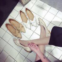 Women Bowknot Casual Pearl Beads Ballet Slip On Pointed Toe Flats Loafers Shoes
