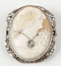 Antique 14K Filagree Gold Cameo Wearing A Diamond Necklace Brooch/Pendant