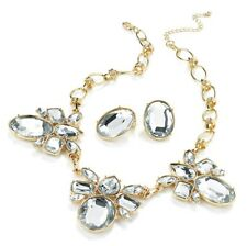 Gold Statement Necklace and Earring Set with Clear Jewels SALE