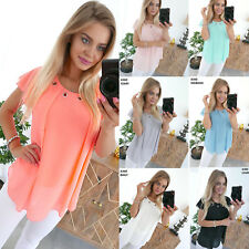Women Summer Chiffon Ruffled Loose Short Sleeve Casual Basic T Shirt Blouse Tops