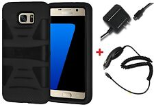 Hybrid Armor Case Cover Kickstand For Samsung GALAXY S7 + USB Car Home Charger