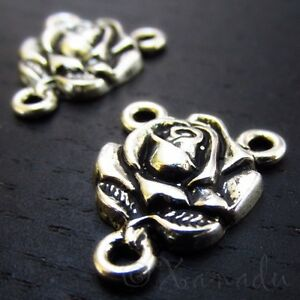Rose Flower Antiqued Silver Plated Connector Charms  C0159 - 5, 10 Or 20PCs