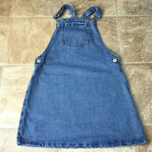 NEXT  Girls Blue Denim Dungaree Skirt /Pinafore /Dress Age 9 Length 26''