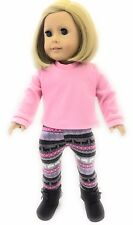 """Pink Top & Reindeer Leggings fits 18"""" American Girl Doll Clothes Accessories"""