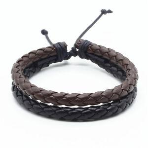 Mens Leather Rope Braided Bracelet Handmade Tribal Ethnic Fashion Wristbands