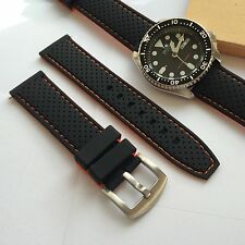 22mm Replacement Black Orange Rubber silicone Watch band strap fit seiko diver