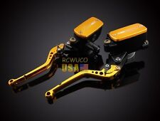Gold Clutch Brake Levers Master Cylinder Reservoir Fit For Yamaha FJR 1300 03-12
