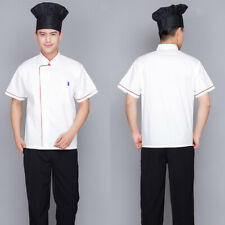 Chef Short Sleeve Uniform Work Clothes Coats Hotel Jacket Breathable 5Size