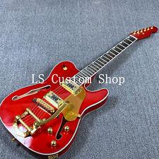 US Stock Tele Electric Guitar Semi-Hollow Body Bigsby Bridge Gold Hardware Red