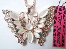 Betsey Johnson Rhinestone butterfly Pendant Necklace #E160