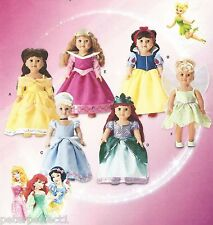 "18"" DOLL DISNEY Princess SNOW WHITE Tinkerbell Cinderella Belle Simplicity 1581"