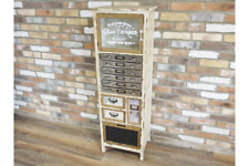 Shabby Chic Slim Wooden Cabinet Multi Storage Drawers and Display Compartment