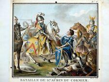 Gravure couleur Aquatinte BRETAGNE Saint-Aubin-du-Cormier 1788 Grands Hommes