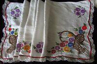 Pretty Vintage French Long Long Handmade Linen Heavily Embroidered Shelf Trim