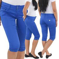 Damen Capri 3/4 Shorts Sommerhose Bermuda Hose kurze Stretch Hüft Jeans Blau