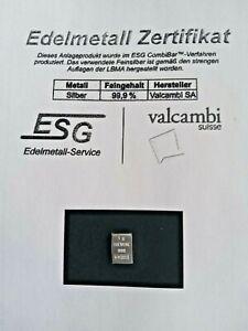 Lingot d'argent Valcambi Suisse 1 gramme 999 Ag Silberbarren Silver
