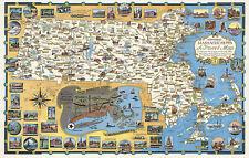 Historic Massachusetts Travel Map -the Bay State- Pictorial Poster Vintage Print