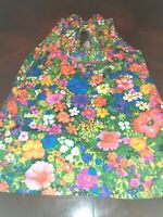 Vintage 1960s High Neck Colorful Floral Print Handmade Sleeveless Blouse